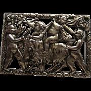 "SALE RARE Unique Coro signed Mythological Putti Brooch/Pin 2 3/4"""