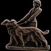 Classic Art Deco Era Celluloid Woman Walking Dogs Pin