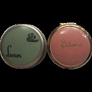 SALE Two Art Deco Rouge Pots Luxor & Belcano Green & Pink Vanity Adornments