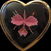SALE Orchid Flower Beveled Lucite Heart Compact Original Powder Puff Mirror Art Deco Vanity ~