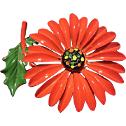 SALE Wonderful Red & Green Enamel Flower Pin Perfect for Christmas!