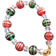 Gorgeous Murano Hand Blown Red & Green Glass  with Gold Swirls & Crystal Bracelet