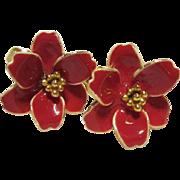 SALE Gorgeous RUNE signed Bright Red Enamel Flower Earrings