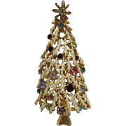 SALE White Jeweled Frosted Christmas Tree Pendant