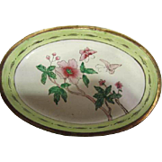 SALE Pair of Older Chinese Export Green & Pink Enamel Oval Pin Trays