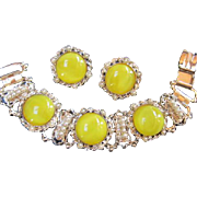 SALE Stunning Yellow Moonglow and fx Pearl Bracelet and Earrings Demi Statement Set