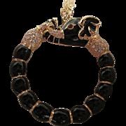 "SALE Kenneth J. Lane Magnifying Glass Black Jeweled Elephant Pendant on 34"" Gold Plated C"