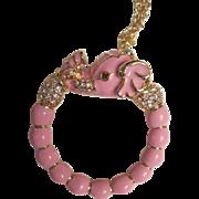 "SALE Kenneth J. Lane Magnifying Glass Pink Raj Jeweled Elephant Pendant on 34"" Gold Plate"