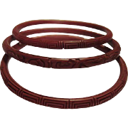 SALE Fabulous Vintage Original Set of 3 Carved Chinese Cinnabar Bangle Bracelets