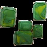 SALE Rare Castlecliff Vintage Modernist Cubist Art Deco Green Glass Pin & Earrings Signed