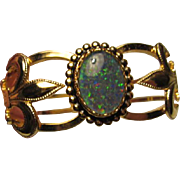 SALE Stunning Fleur de lis fx Opal Vintage Clamper Bracelet