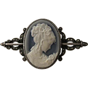 SALE Gorgeous Romantic Blue Agate Cameo Marcasite Sterling Silver 925 Brooch/Pin