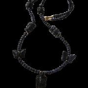 SALE Vintage Genuine Sodalite Carved Animal Vintage Necklace Turtles Butterflies Owls