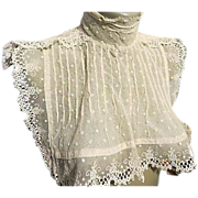 SALE Victorian Edwardian Antique Ivory Lace Collar Fashion Bib
