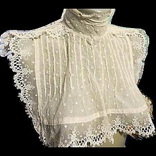 SALE Victorian Edwardian Antique Ivory Lace Collar Fashion Bib