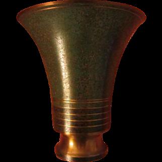 SALE 1920s Carl Sorenson Art Deco Trumpet Bronze Vase  Signed