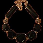 SALE Vintage Natural Black Obsidian & Sterling Silver 925 Bracelet Bali