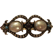 SALE Gorgeous Vintage fx Mobe Pearl, fx Turquoise & fx Garnet Engraved Bangle Bracelet