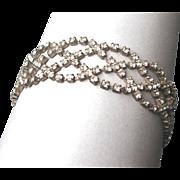 Vintage elegant clear rhinestone silver tone bracelet