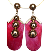 Sgt. Peppers red rank earrings golden pin fifties jewelry