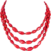 Three strand coral red glass beads European vintage classic necklace