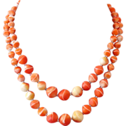 Venetian two strands smoky orange vintage glass bead necklace