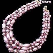 Three strand pink vintage bead necklace estate jewelry