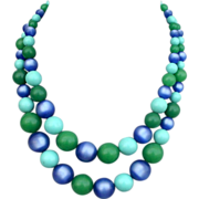 Two strands blue turquoise and green beads vintage necklace