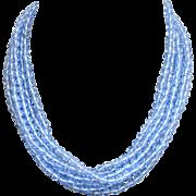 Long knotted necklace bracelet vintage Bohemian blue crystal beads