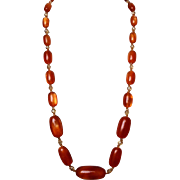 Amber style Lucite yellow crystal beads long vintage necklace