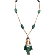 Green Murano glass beads vintage tassel gold tone necklace