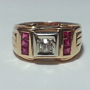 RETRO Era 14K Gold Diamond Ruby Color Calibre Stones Ring