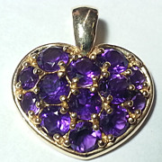 14K Gold Amethyst Heart Pendant & Necklace