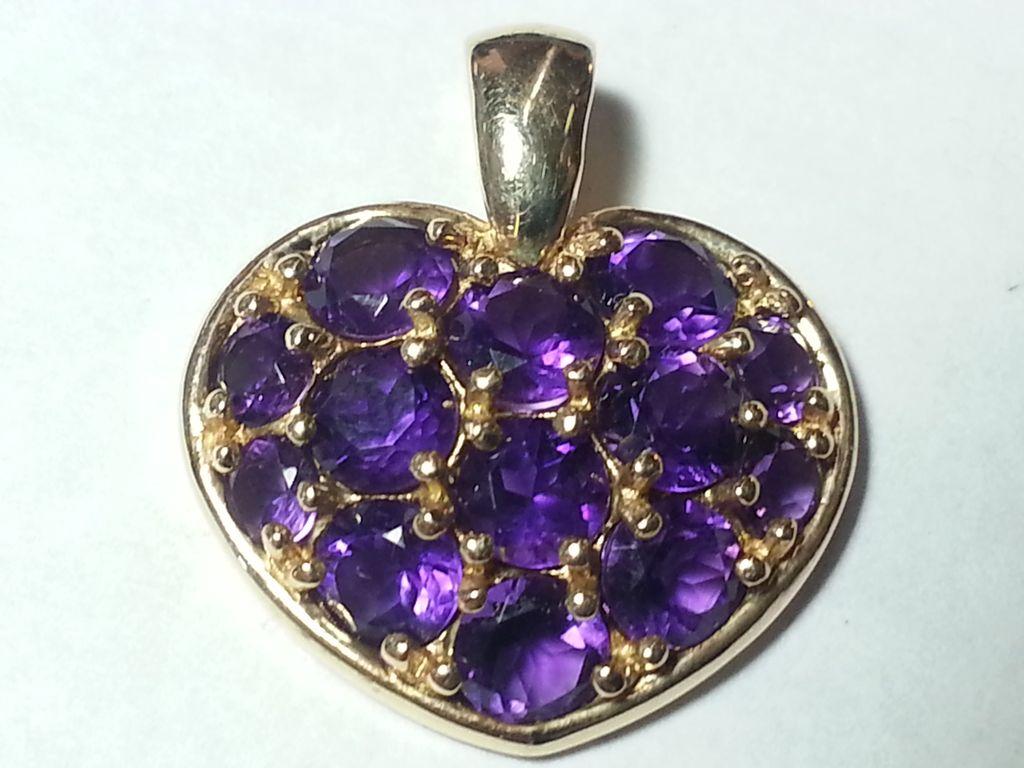14K Gold Amethyst Heart Pendant & Necklace