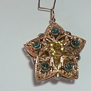 Unique 3 Dimensional 14k Gold Citrine & Tourmaline Star Pendant