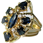 SALE Vintage 14K YG Cocktail Ring  With Sapphires and Diamonds 70's era.