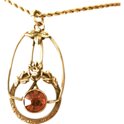 SALE Gold Filled Van Dell Pendant On Sterling With Gold Filled Chain