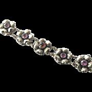 SALE Rare  Sterling Silver Hobe' Bracelet With Paste Amethyst