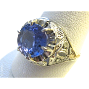 SALE Art Deco Platinum Ring With Tanzanite & Rose Cut Diamonds