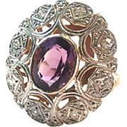 SALE Valentine's Special 50% Off!  European Art Deco Platinum 18K Amethyst and Diamond Ring