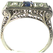 SALE Valentine's Special! 18K White Gold Art Deco Sapphire And Diamond Ring