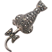 Sterling Silver Movable Tail Marcasite Cat
