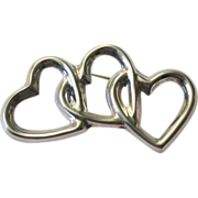 SALE Vintage Sterling Silver Three Heart Pendant