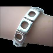 Vintage Modernist Sterling Silver Link Bracelet With Toggle