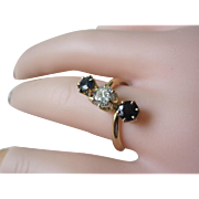 SALE Victorian Three Stone Ring 18K YG .With 55ct Diamond And Two Sapphires