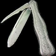 Collectors Antique Fine Sterling Silver Gentleman's Fruit/Nut Knife