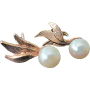 Vintage 14K YG 3 Leaf Round Cultured Pearl Earrings