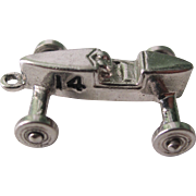 Vintage Sterling Silver Charm  3-D Derby Car With Spinning Wheels