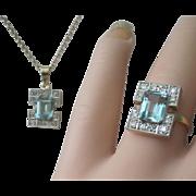 SALE Vintage Art Deco Aqua Diamonds 18K Platinum Ring Pendant Set