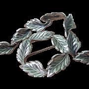 Vintage Beaucraft Sterling Silver Leaf Brooch and Bracelet Set